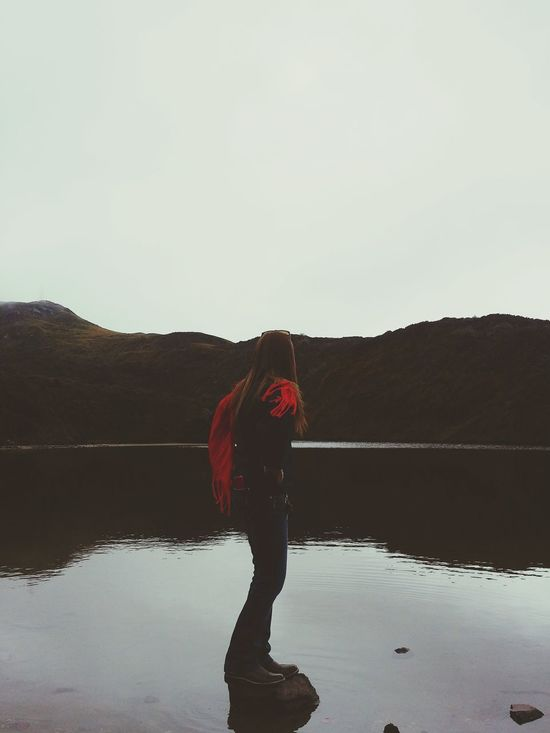 Reflection Water Lake Red Sky Nature Full Length Outdoors Human Body Part Reflection Lake Standing Water One Person Travel Destinations People Mountain Human Hand Day Mountains And Valleys Foggy Extreme Terrain Beauty In Nature Open Edit Woman Mountains Lake View The Great Outdoors - 2017 EyeEm Awards