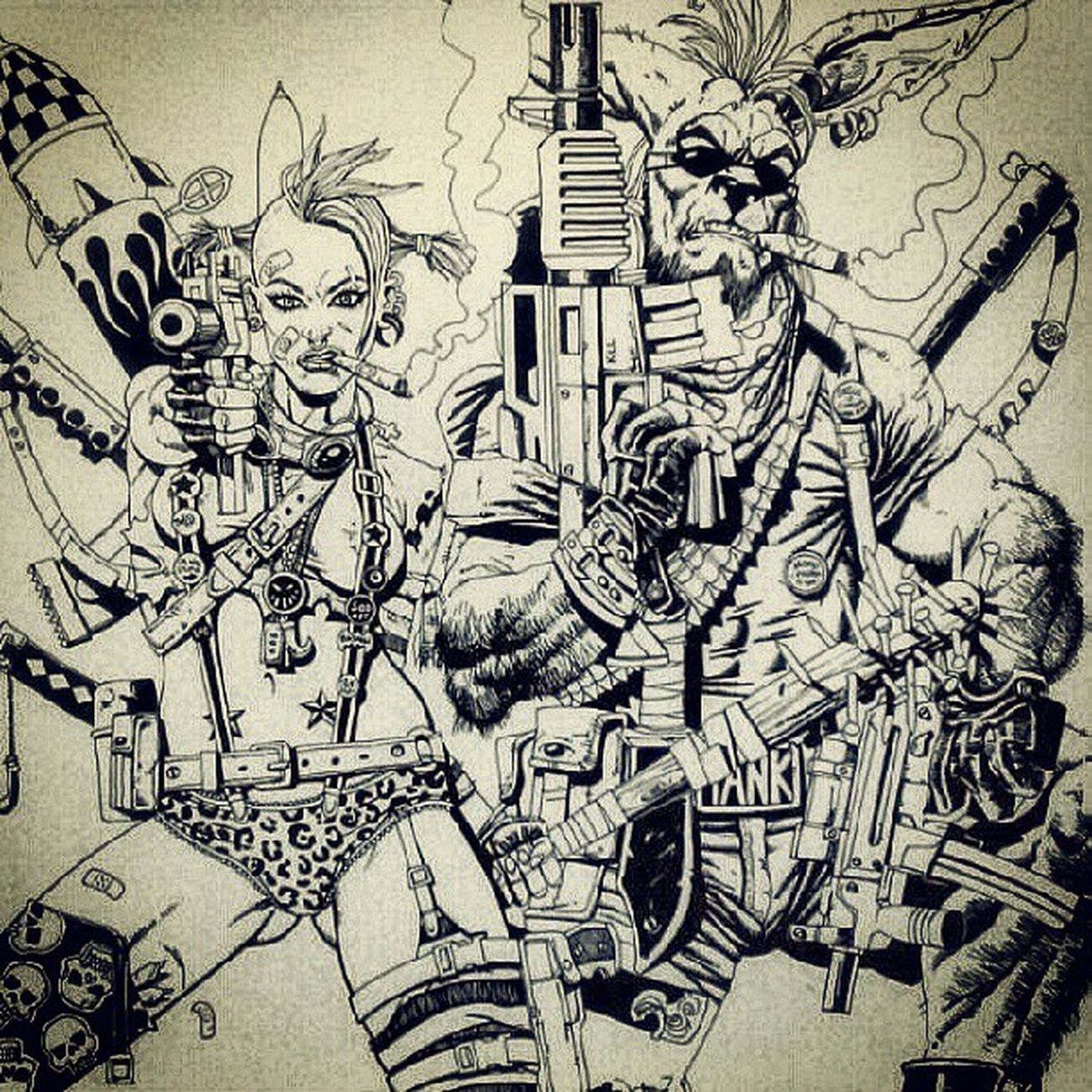 Tankgirl Booga Comics Art artwork artexercise sketch ink marker drawing igart kangaroo guns explosions lovers