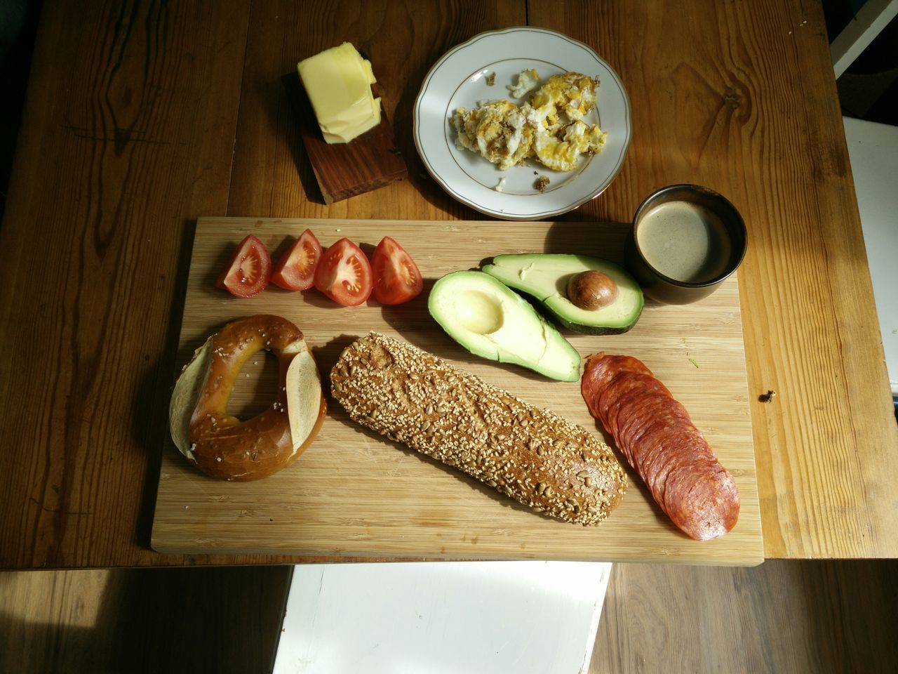 High Angle View Of Raw Food On Cutting Board