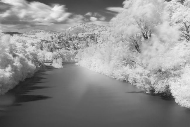 Just an experiment with an IR filter Black & White Black And White Blackandwhite Calm Water Dream Dreamy Infrared Italy Landscape Long Exposure Surreal Südtirol Tranquility Tree Water Monochrome Photography Monochrome