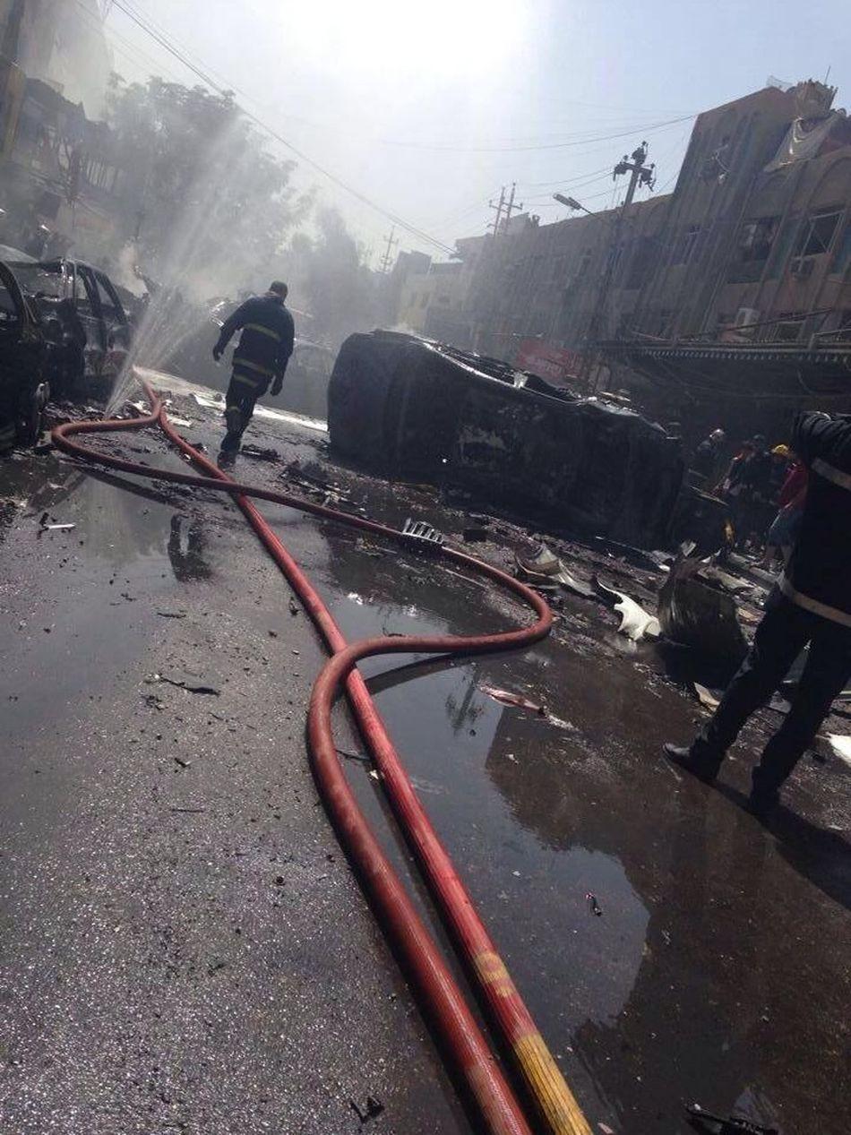 انفجار الكراده قبل شويه حسبي الله ونعم الوكيل