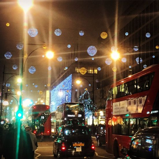 Illuminated Night Transportation City Uk England London Oxford St Christmas Lights