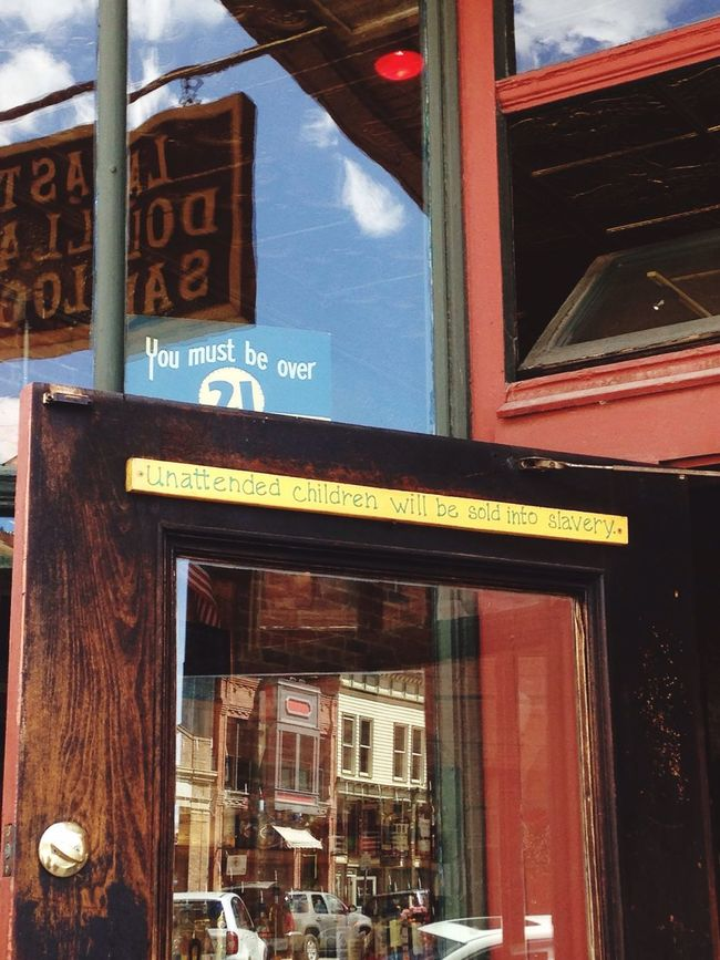 """I just entered the pub (it was a saloon actually) to congrats for the sentence on the door but found myself trying my first """"morning beer on the house"""" there. Not bad at all! Funny Moments Sentence Beer Beer O'clock Saloon USAtrip USA Colorado Telluride"""