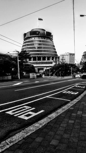 Architecture Black And White Building Exterior Built Structure City Day No People Outdoors Road Sky Adapted To The City The BeehiveBlack & White New Zealand Parliament Building New Zealand Architecture New Zealand Miles Away