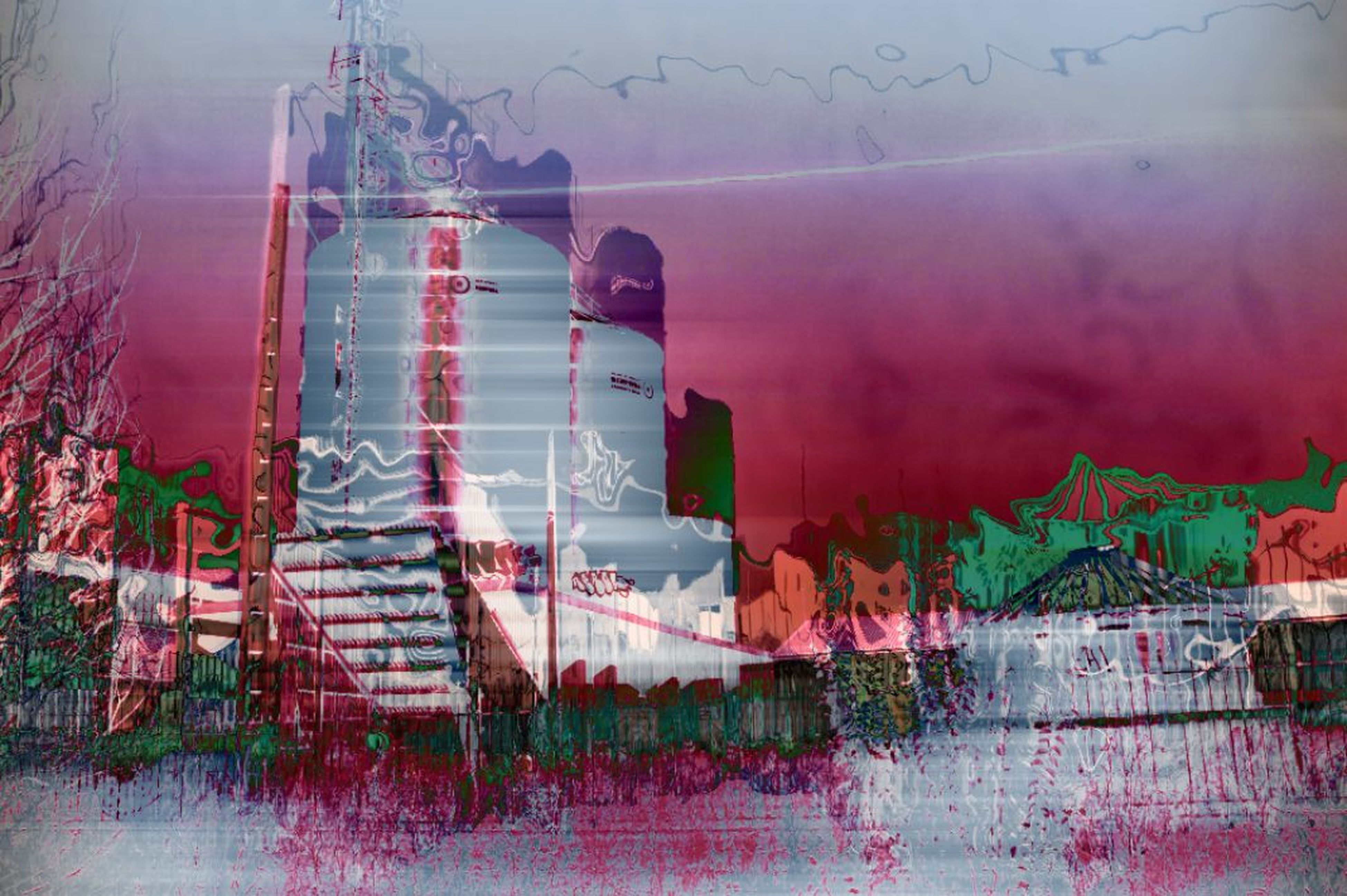 built structure, architecture, graffiti, building exterior, wall - building feature, sky, art and craft, art, outdoors, auto post production filter, day, multi colored, creativity, no people, damaged, low angle view, abandoned, reflection, water