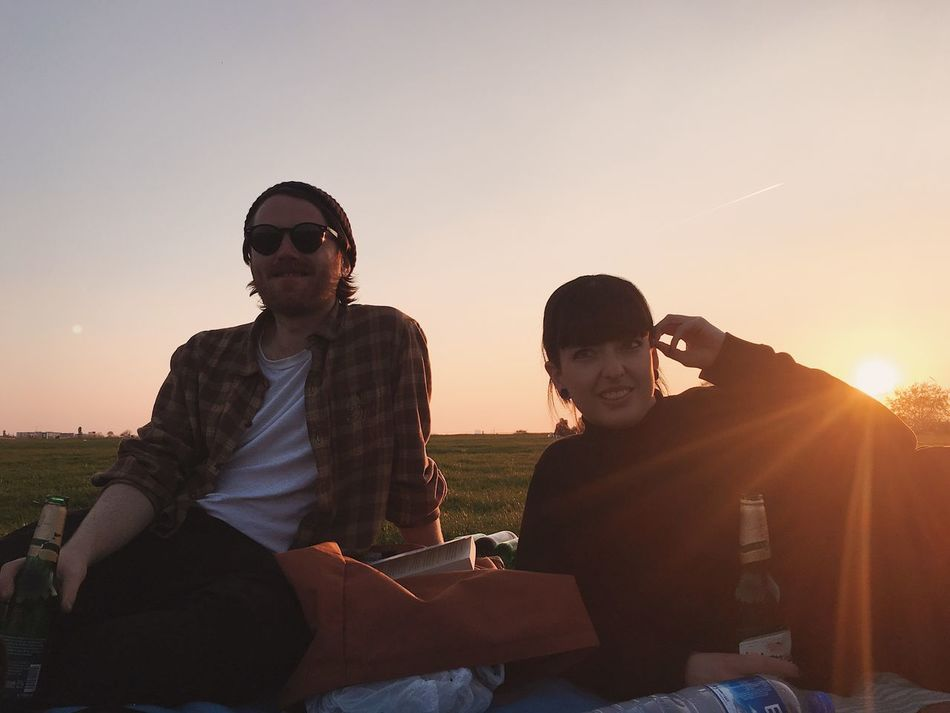 rob + maddy Millennials Outdoors People Relaxation Sitting Sky Sunset Tempelhofer Feld Togetherness Two People