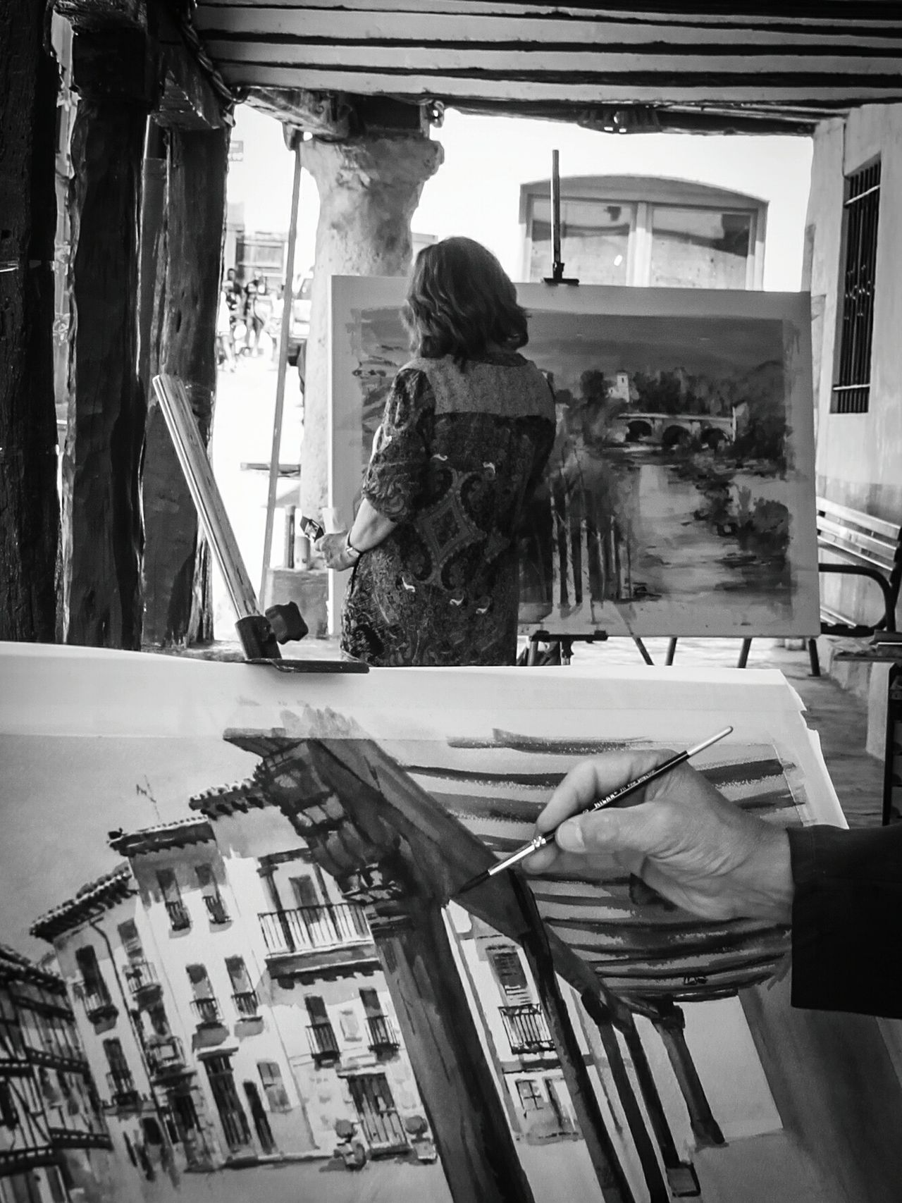 Building Exterior Rear View Casual Clothing Painters Painting Painter At Work Human Hand Part Of Body Covarrubias Pinturarapida Painting In Progress In The Street Rural Village Person Streetphotography Street Art Black And White Bnw_collection Bnw_captures Blackandwhite EyeEm Gallery Check This Out