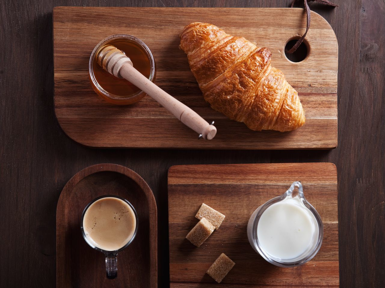 Coffee - Drink Croissant Wood - Material Coffee Cup Food And Drink Table Directly Above Food High Angle View French Food Indoors  No People Breakfast Drink Frothy Drink Day Freshness Close-up