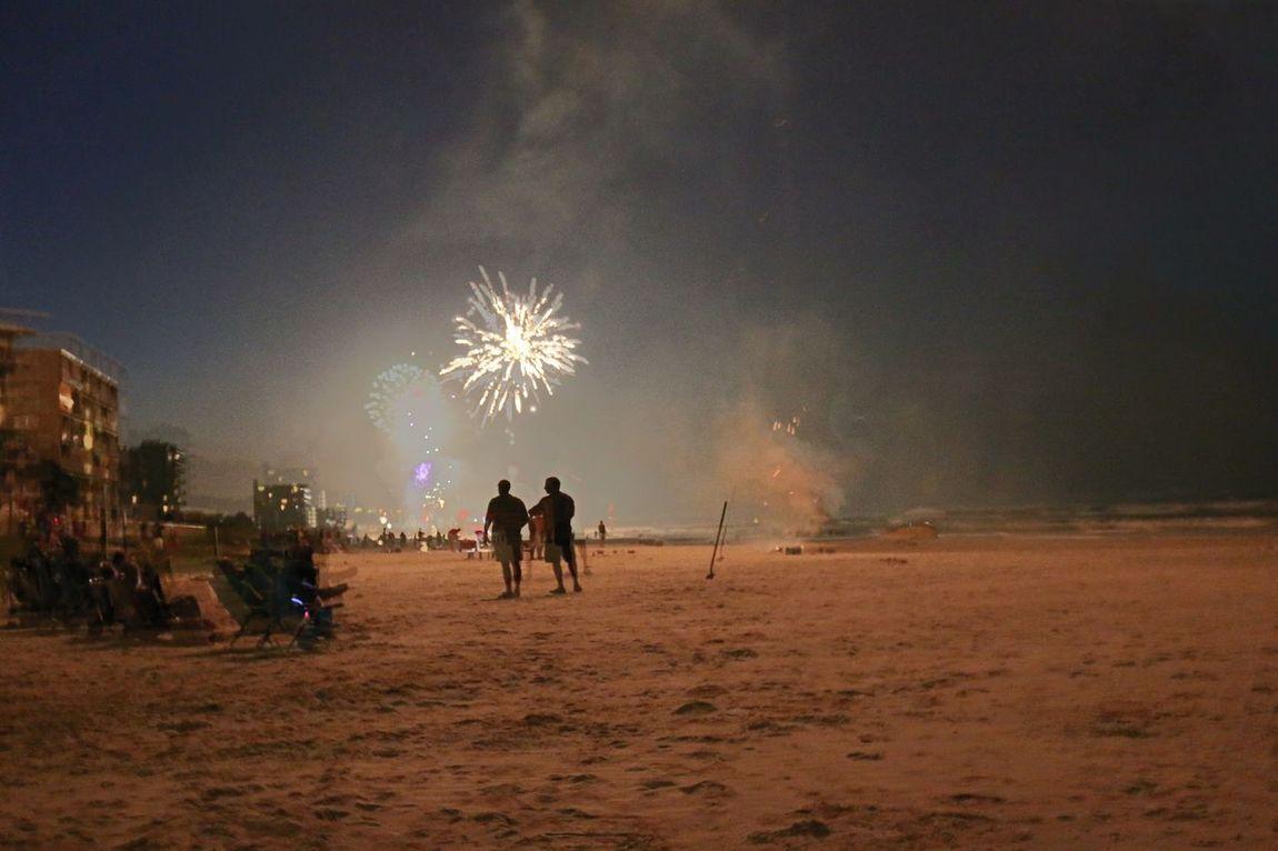 Fine Art Photoghraphy Fireworks On The Beach Light Up The Beach people walking on beach Night Scene People Walking In Dark
