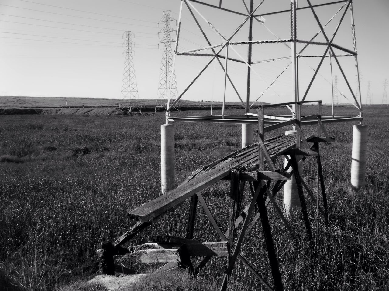 Dilapidated Aged Disrepair Blackandwhite Black And White San Francisco Bay Marsh Wetlands California Electricity Pylon Connection Field Cable Day Sky No People Nature Landscape Outdoors Grass No Budget Photography the server must be in Fremot, it's another city