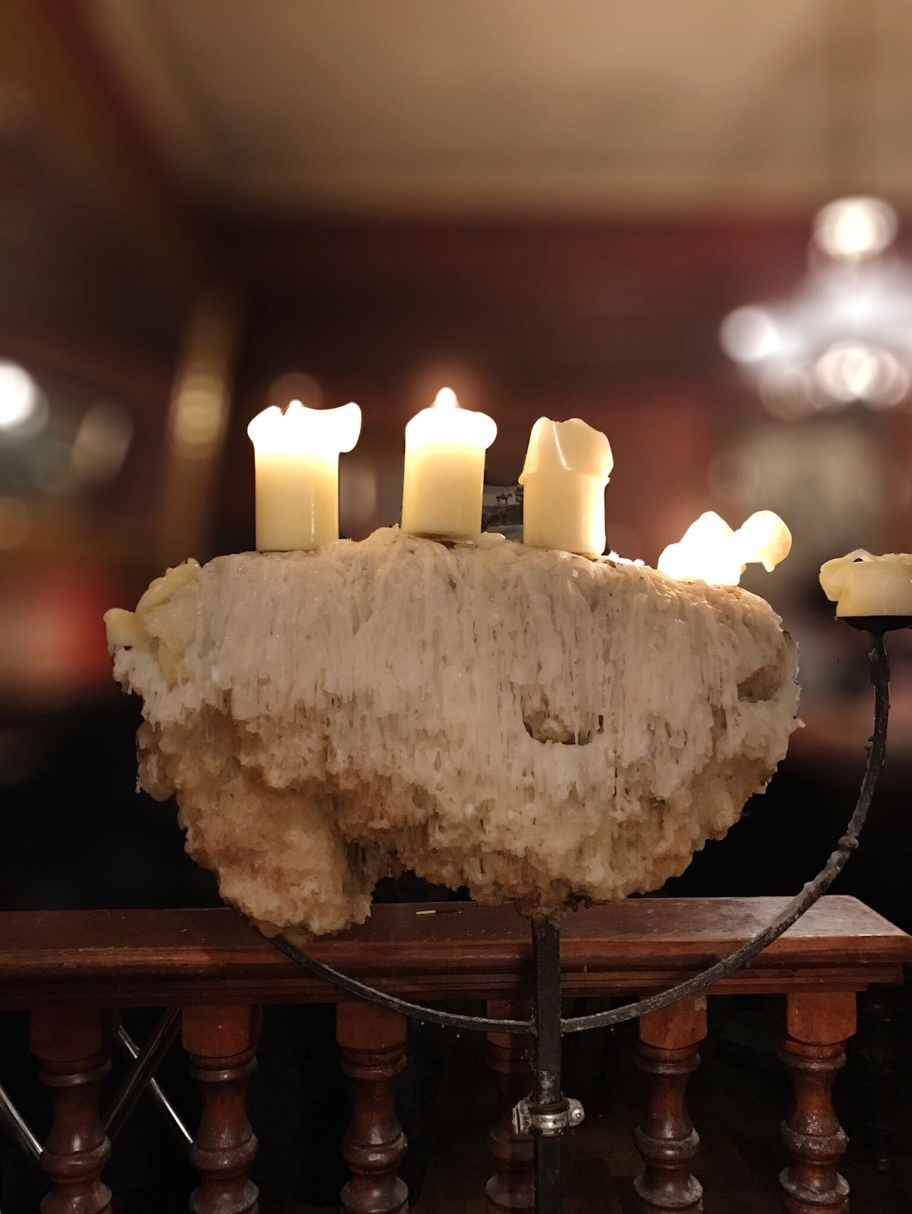 Candelabra Candlelight Dripped Wax Dripping Wax Wrought Iron Candle Candle Light Candle Flame Baluster Balustrade Polished Wood