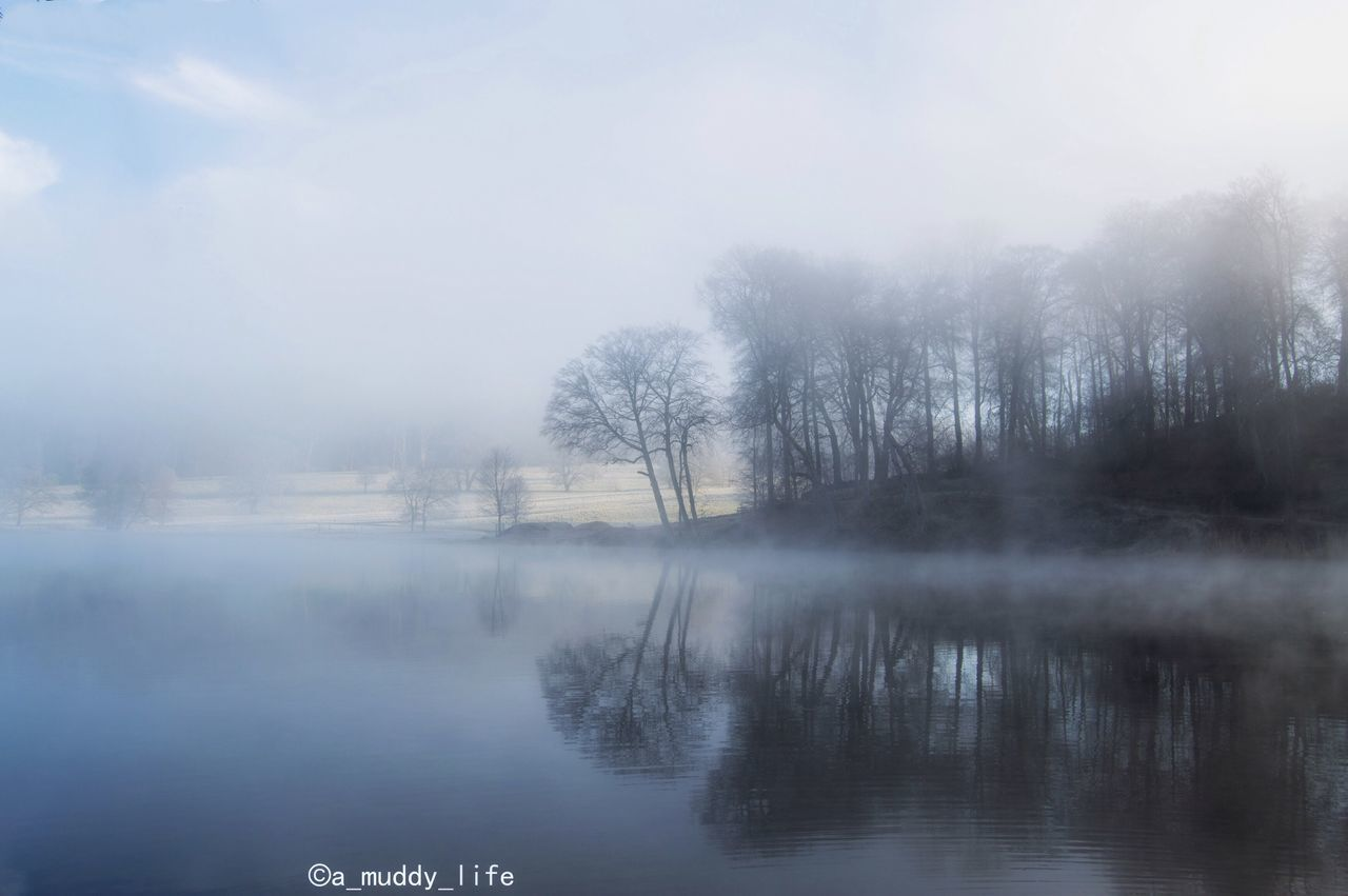 beauty in nature, tranquility, nature, fog, tranquil scene, reflection, scenics, cold temperature, water, no people, mist, day, outdoors, winter, tree, hazy, landscape, lake, sky, bare tree