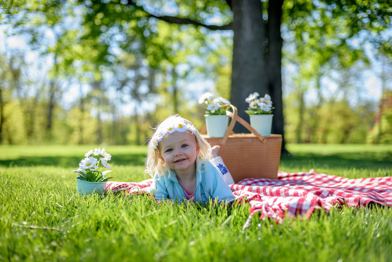 Adorable happy little girl laying on blanket with vintage picnic basket and daisies Spring Female Sunny Day Outdoors Selective Focus Spring Flowers Spring 2017 Picnic Basket Vintage Little Girl Adorable Kids Kid Photography Kidsphotography Childhood One Child Laying On Grass Picnicking Young Child Daisies Portrait Sunlight Sweet Happy People Happy Children