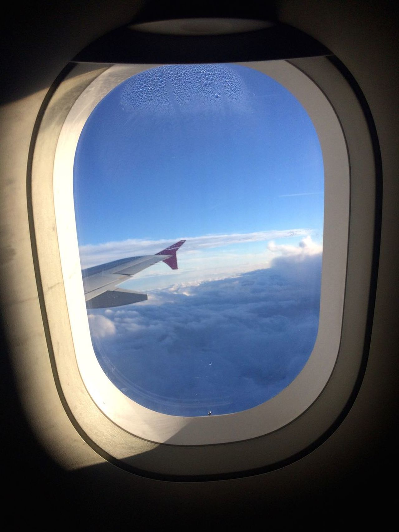 Blue Skies Airplane Window Transportation Air Vehicle Vehicle Interior Travel Sky Flying Journey Mode Of Transport Cloud - Sky No People Day Mid-air Sunlight Blue Commercial Airplane Indoors  Airplane Wing Aerial View Let's Go. Together.
