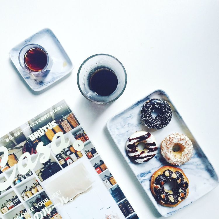 my breakfast. Breakfast Doughnut Brunch Case Cafe Coffee Coffee Time Reading Reading & Relaxing Reading Time IPhoneography Still Life Daily Life Eating Food Delicious Stylish Doughnuts Indoors  Visual Feast