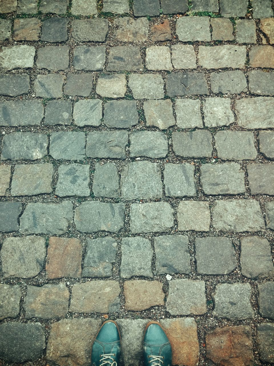 Low Section Of Person Standing On Cobbled Street