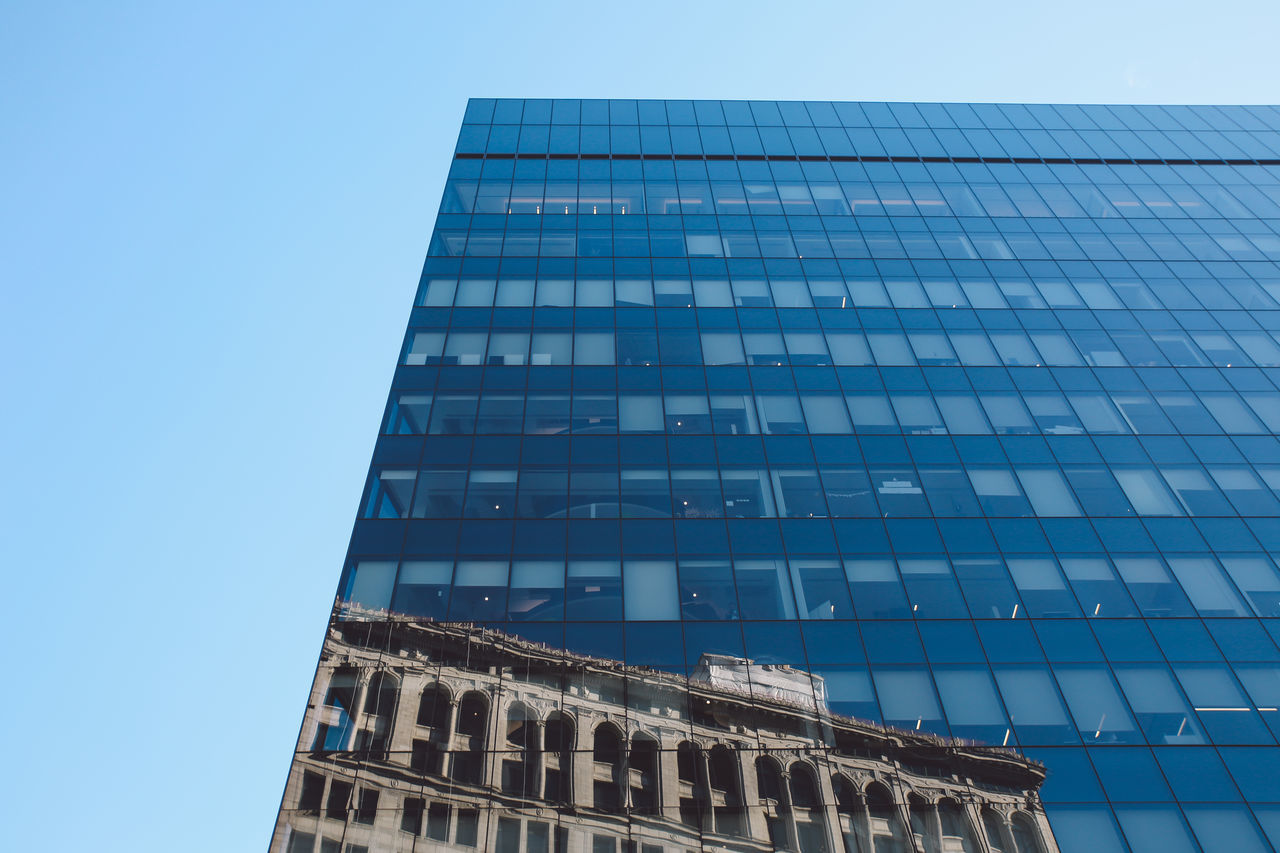 Architecture Blue Blue Sky Building Exterior Built Structure City Clear Sky Day Low Angle View Manhattan Modern New York New York City No People NYC Office Block Outdoors Sky Skyscraper Sunny The City Light Window Winter