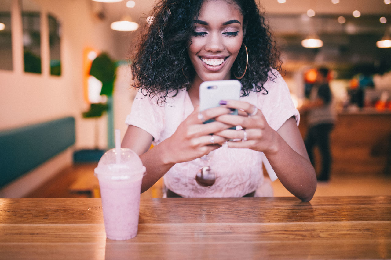 Bar Cafe Fun Happy Message Messages Milkshake Smart Phone Technology Texting Typing Woman