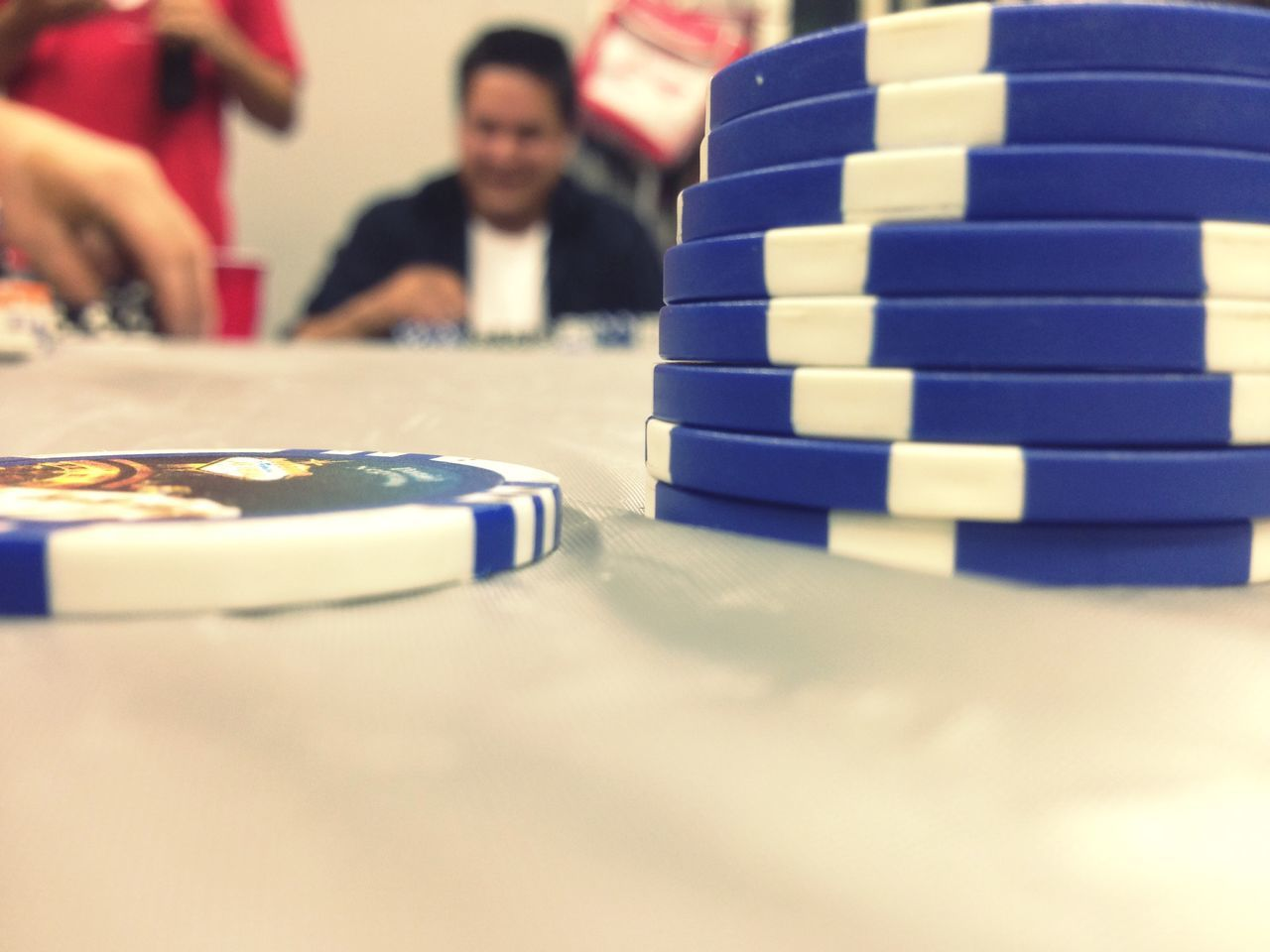 Stacks Of Gambling Chips On Table