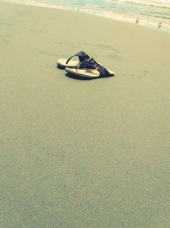 Sand Beach Tranquility Shore Tranquil Scene Nature Sea Surface Level No People Distant Eeyem Photography EeyEm Gallery Eeyem Market Best EyeEm Shot Amateurish Pondicherry India Footwear Flipflops