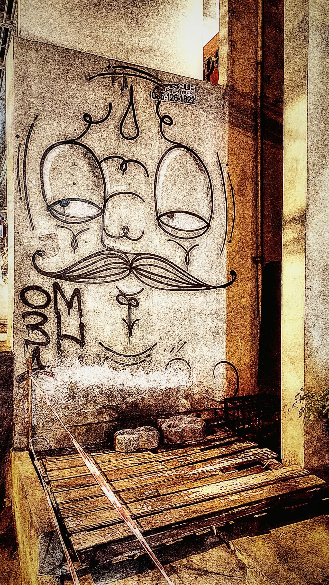 Street art Streetart Street Photography Graffiti Art Wall Art Wallpainting Thailand Street Street In Thai Street In City Bangkok Thailand Bangkok My Capture  Travel Photography Wanderlust The Week Of Eyeem Travelgram Land Of Smiles Mustache Face Of Eyem Street Art/Graffiti The Shop Around The Corner