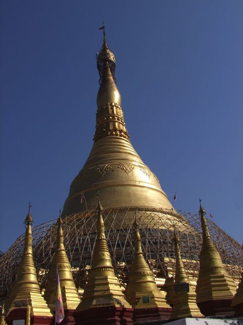 Kyaik Kauk Pagoda (copy of Shwedagon Pagoda but smaller) Blue Sky Buddhism Buddhist Architecture Buddhist Culture Buddhist Pagoda Buddhist Temple Composition Full Frame Gold Coloured Gold Stupa Gold Stupas Kyaik Kauk Pagoda Low Angle View Myanmar No People Outdoor Photography Place Of Pilgrimage Place Of Prayer Place Of Worship Religion Spirituality Sunlight And Shadows Thanlyin Tourist Attraction  Travel Destination