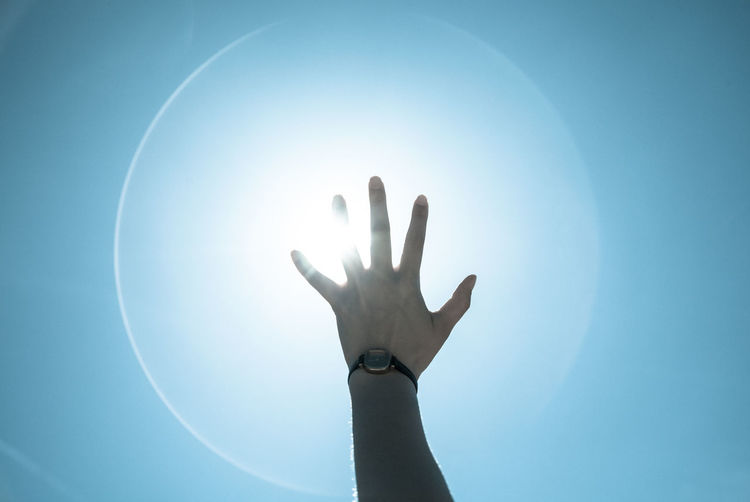 Amazing Blue Day Hand Human Finger Lens Flare Low Angle View Magic Part Of Push Ring Of Light Sky Sun Sunbeam Sunlight Sunny Super Sayan Watch