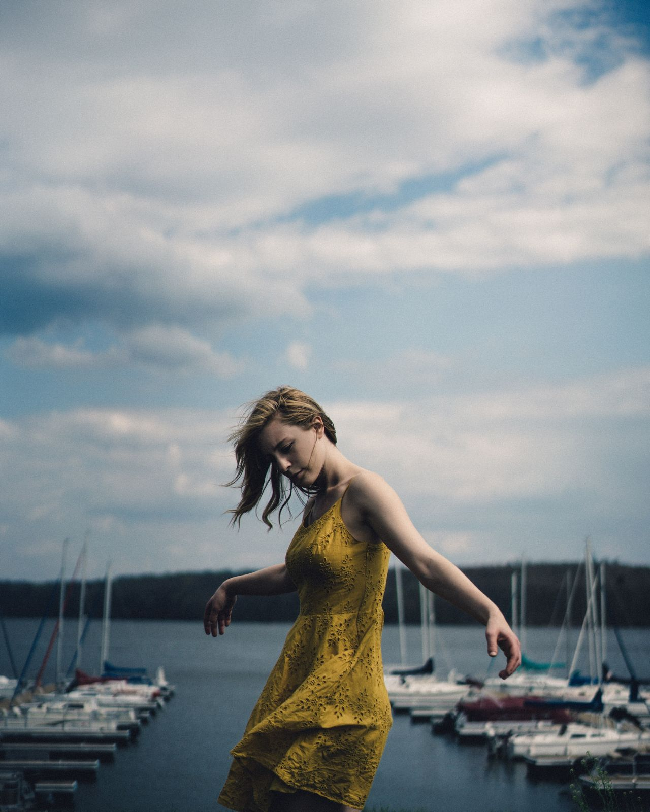 Water Sky Transportation Nautical Vessel Real People Mode Of Transport One Person Cloud - Sky Leisure Activity Outdoors Sea Standing Lifestyles Casual Clothing Day Young Adult Moored Nature Young Women People Spring April May Art Is Everywhere EyeEm Diversity