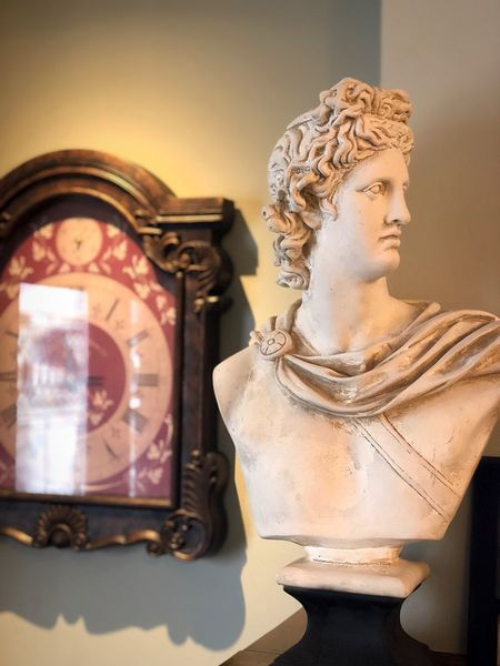 🗿🕘👀 Statue Grandfatherclock Oldclock Old Outdoors Outside Indoors  Inside Aesthetic Aesthetics Greece Greek Time Clock Nature Human Representation Statue Art And Craft No People Spirituality Sculpture Indoors  Place Of Worship Religion Close-up Day