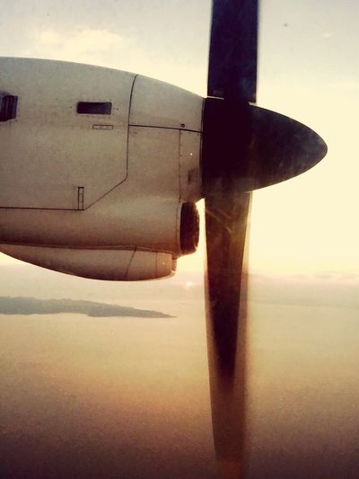 Airplane Propeller Sunset Athens Airport 43 Golden Moments Gold Sunset