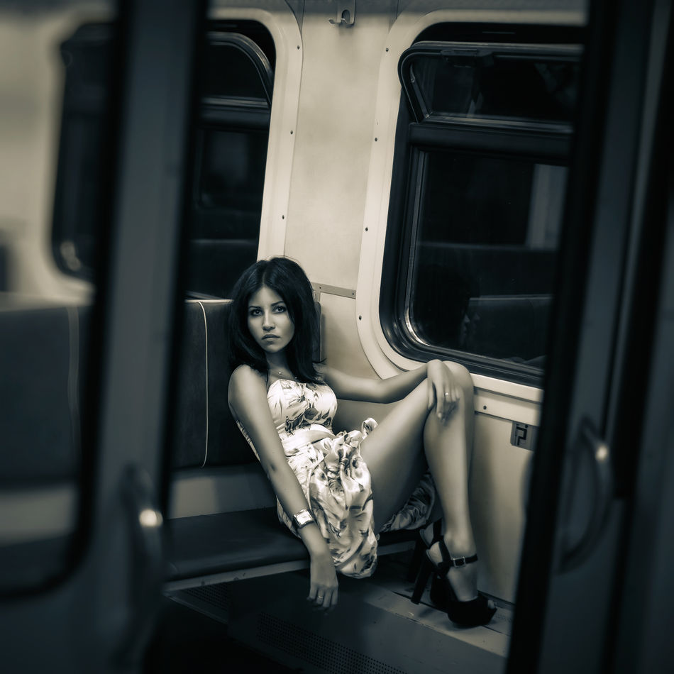 Trains History Beauty Black And White Brunette Dress Girl Graceful Legs High-heeled Shoes Lonely Train Ride Long Legs Neat Figure Portrait Pry Prying Railway Carriage Train Trains History Travel Woman