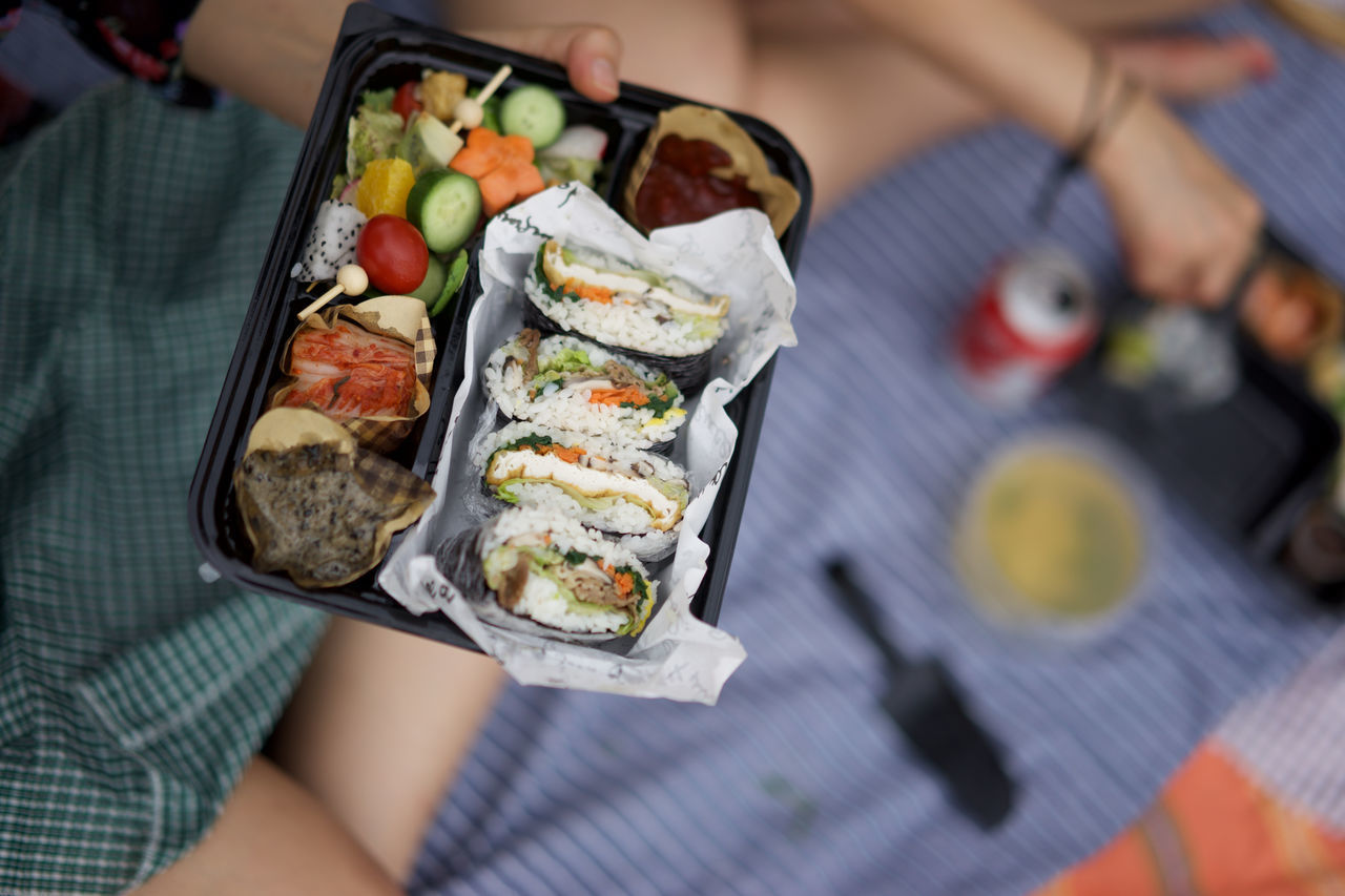 Adult Asian Cuisine Day Food Food And Drink Freshness Friendship Healthy Eating Horizontal Korean Food Lunch Lunch Box Outdoors People Person Picnic Ready-to-eat Social Gathering Sushi Togetherness