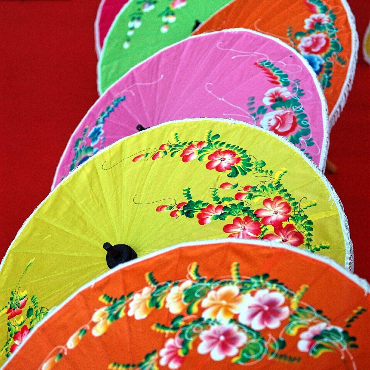 Multi Colored China Umbrellas Cultures China Culture Oriental Festival Indoors  Close-up Close Up Colorful Decorated Traditional Culture