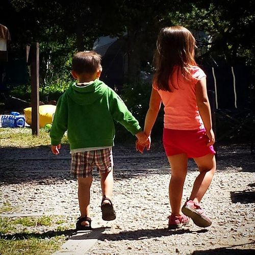 """This sweet moment melted my heart today. Zevin came up, grabbed Brenna by the hand, and said, """"come on Brenna! Brenna, come on over here!"""" Zevincarlos Brennarose Cowboy Princess Siblings Bestbuds Familyreunion2015 Wellsfamilyreunion2k15"""