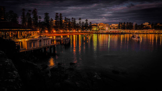 Architecture City In Dusk Colour Illuminated Lights On Water Manly Beach Reflection Reflections Reflections In The Water