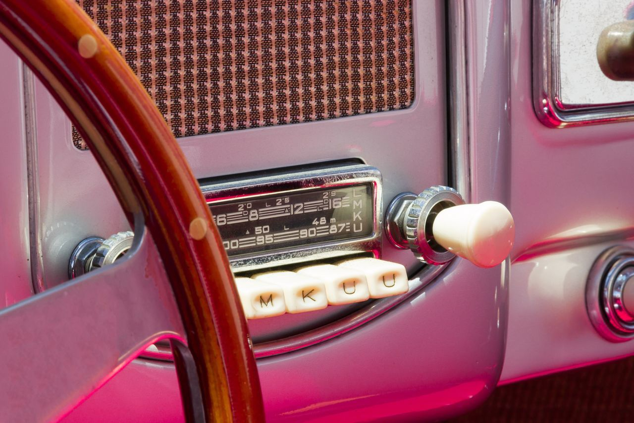 Retro Styled Vehicle Interior Land Vehicle Mode Of Transport Car Dashboard Old-fashioned Transportation Technology Car Interior Red Steering Wheel Close-up No People Speedometer Day Ladyphotographerofthemonth Radio Vintage Vintage Cars Millennial Pink Pink Pink Color