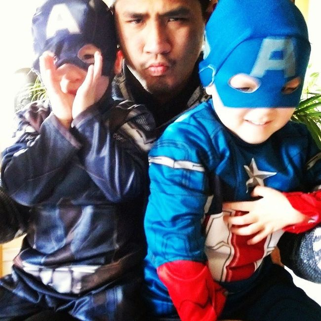 Carnaval 😆🎉 LAO Twins Captainamerica Marvel Baby Asian  Jetly Familly Where is Hydra ?