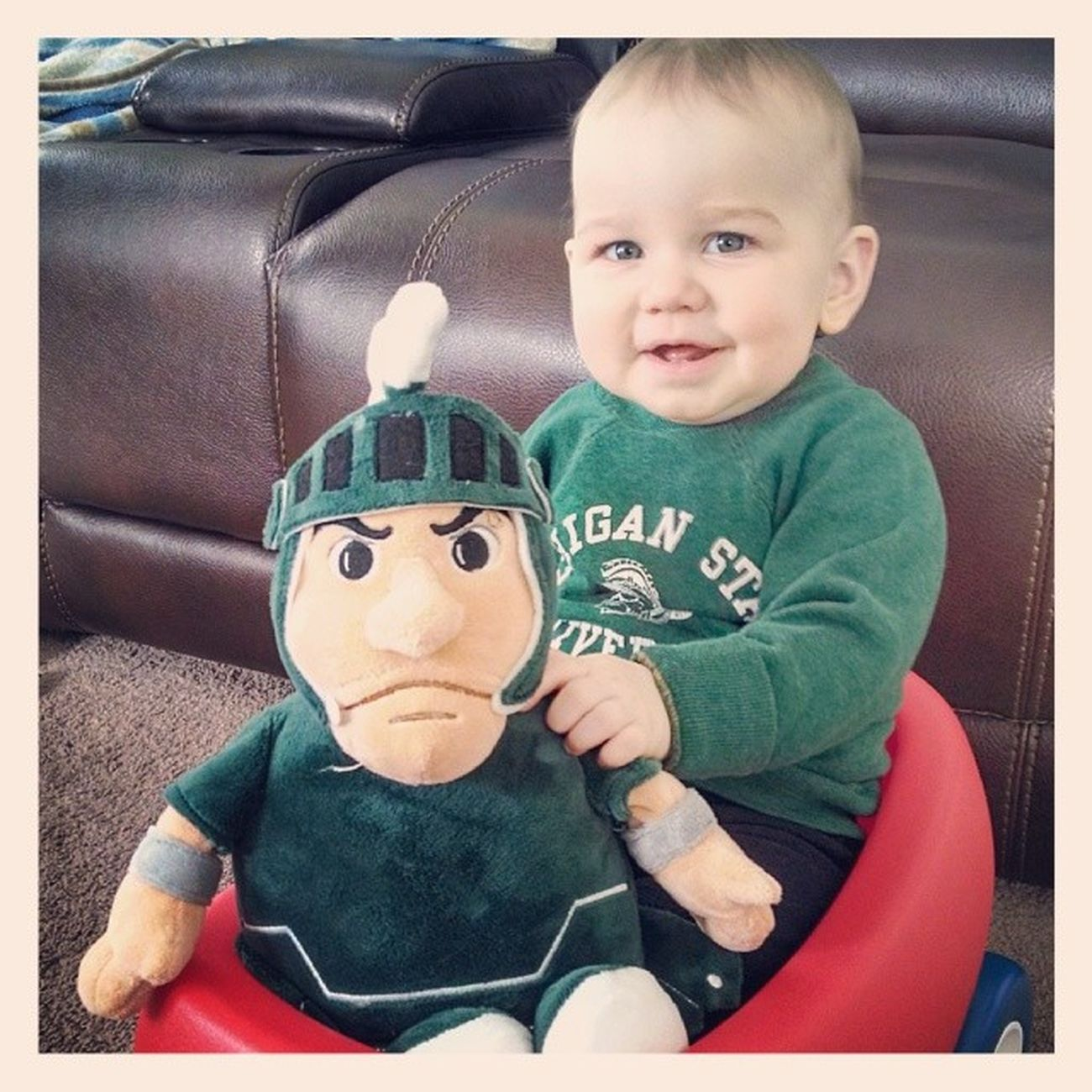 """Leland says """"Go State! Beat those Wolverines today! Me and Sparty will be cheering you on!"""" MSUvsUM"""
