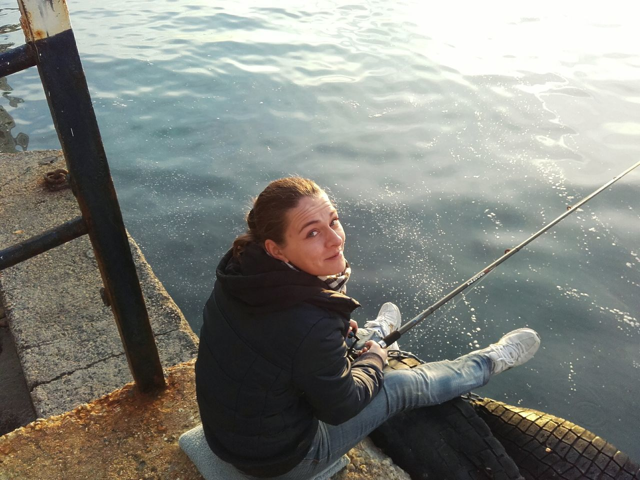 Fishing One Person Sitting Water Only Women Sea One Woman Only Relaxation Outdoors High Angle View Adult Sunlight Day One Young Woman Only Nature Childhood Vacations Leisure Activity EyeEmNewHere