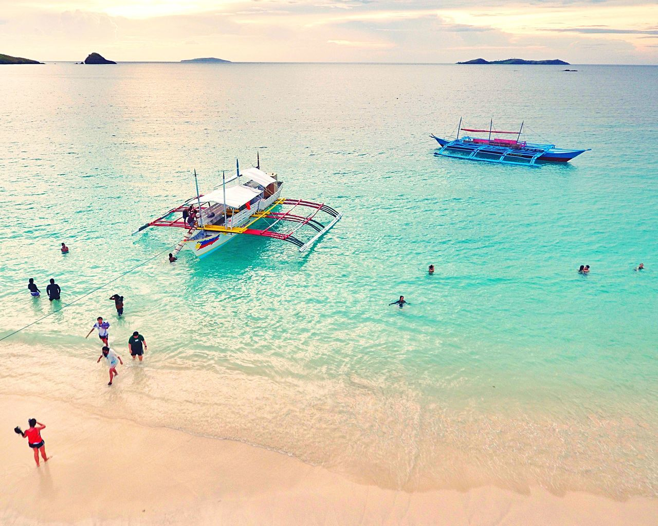 Water Beach Vacations Sea Tourism Tourist Lifestyles Leisure Activity Travel Shore Travel Destinations High Angle View Swimming Scenics Weekend Activities Summer Whitesand Eyeem Philippines Aerial Shot Drone  Boat Nature Horizon Over Water Coastline Trip