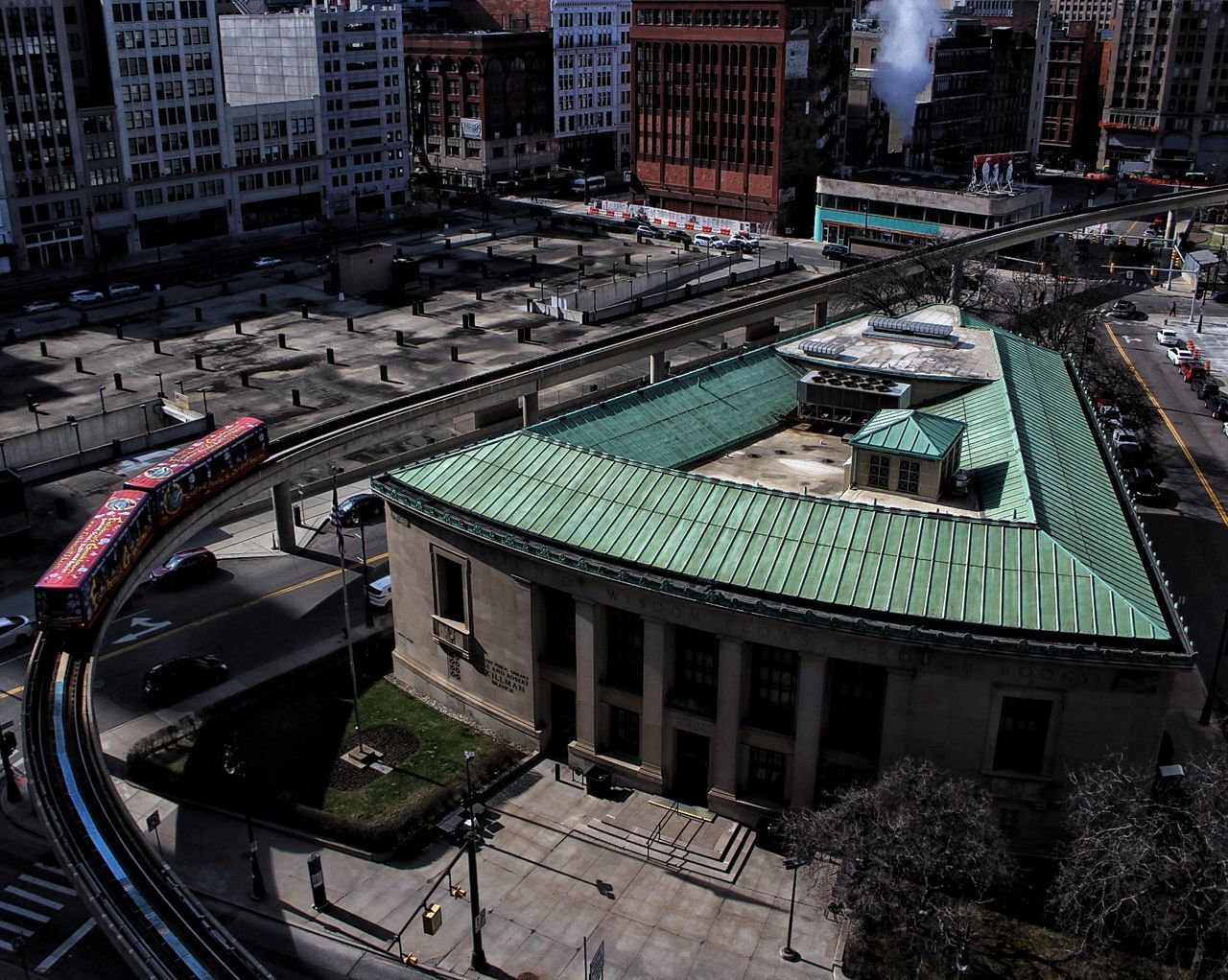 Motor City High Angle View City Building Exterior Built Structure Aerial View Architecture Cityscape Outdoors Downtown District Crowd Day People Detroit DetroitMichigan Downtown Detroit Library Train Detroit People Mover Urbex Rooftopping Rooftop Grand View Awesome Architecture City