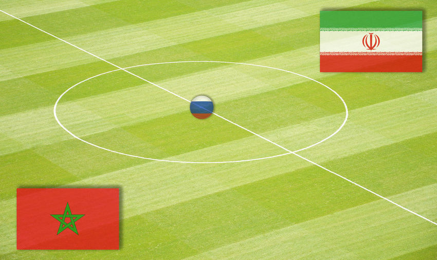 Soccer field with the World Cup mating Marocco against Iran Eighth-Finals Football Group Stage Lines Marker Morocco National Team Portugal Russia SPAIN Semi-Finals Stadium World Championship World Cup Mating World Ranking Final Football Field Football Pitch Group Play Iran Middle Circle Play Matings Round Of The Last Sixteen World Championship Mating World Cup