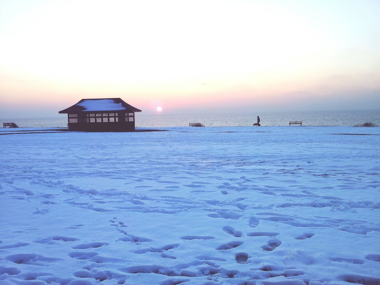 Frinton on sea Winter Wonderland Wintertime Snow Sunrise Snow Covered Frinton-on-Sea Coast Footprints Frinton
