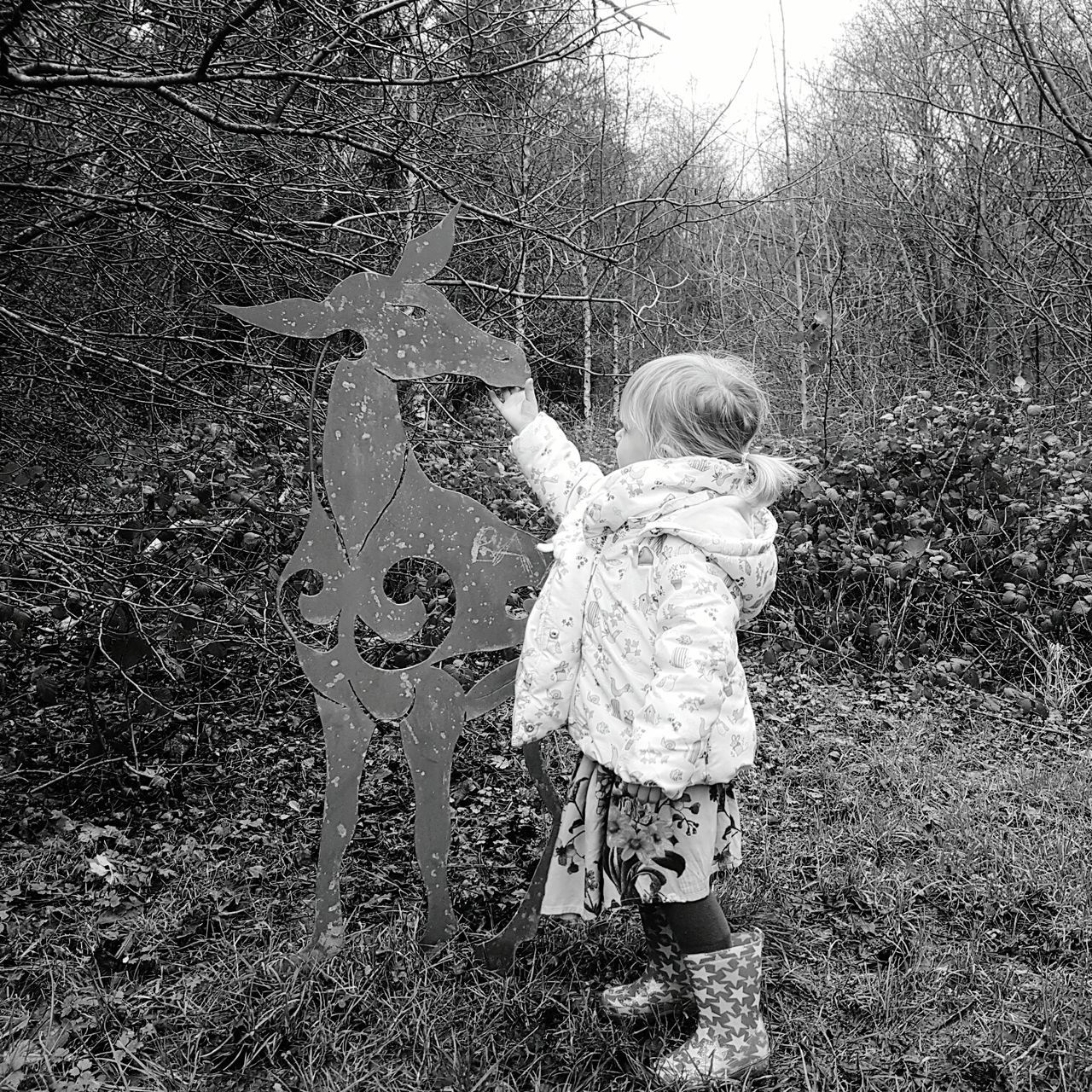 Emoting steel Childhood One Person Child Outdoors Nature Toddlers  Toddler  Countryside One Girl Only Deer Statue ArtWork Metal Steel Pressed Metal Countryside Uk Nature