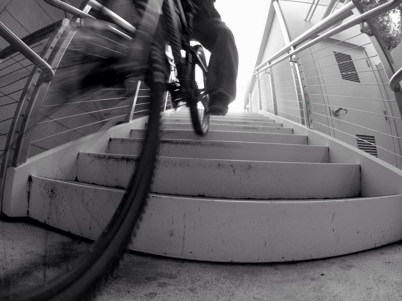 last shot of this series... promise😉 Wheel Tired Tyre Bike Bicycle MTB Mountainbike Perspective Streetphotography Urbanphotography Black And White Black & White Blackandwhite Blurred Motion Steps Steps And Staircases Built Structure Staircase Action Motion Capturing Movement EyeEm Best Shots No Budget Photography