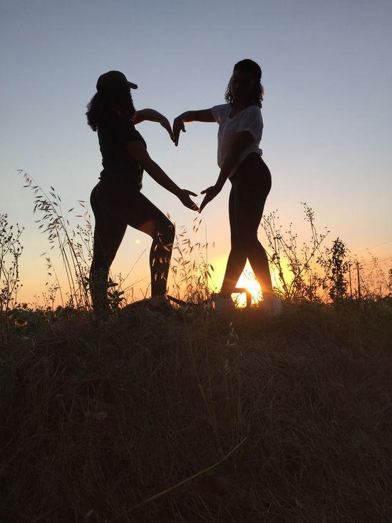 Sunset Silhouettes Golden Moment Enjoying Life my girls having fun loving life