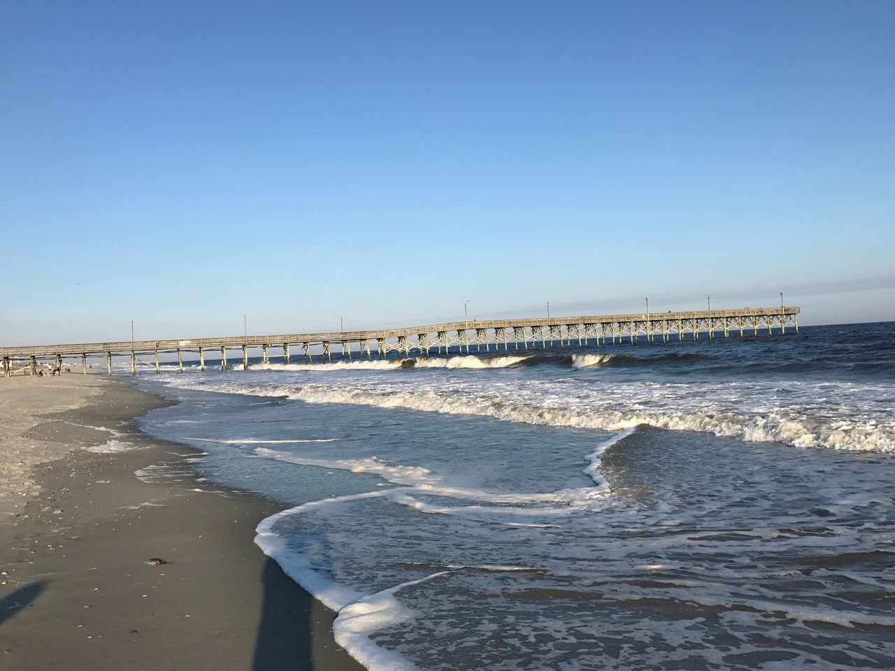 Holden Beach Fishing Pier Fishing Pier Sea Beauty In Nature Wave East Coast Beauty Tranquil Scene Surf's Up