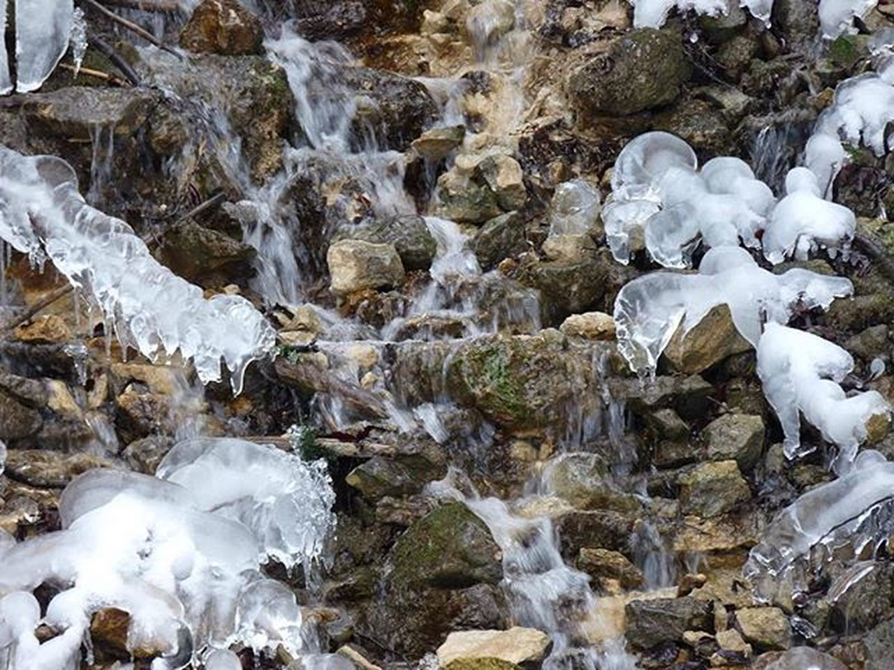 rock - object, nature, beauty in nature, water, outdoors, waterfall, no people, tranquility, scenics, day, cold temperature