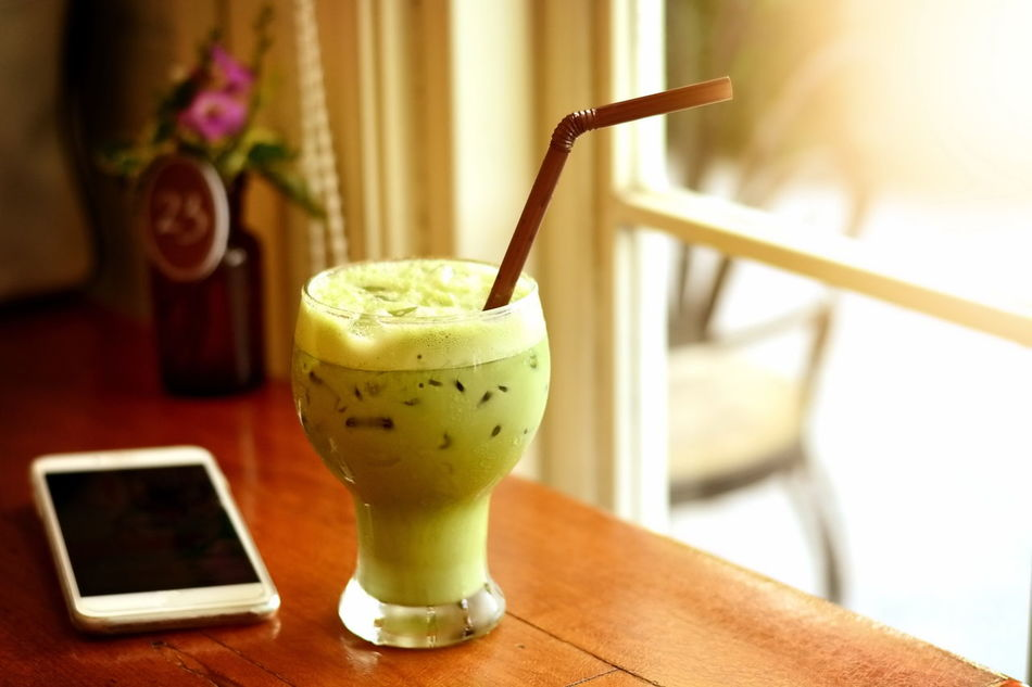 Blended Drink Bread Close-up Cold Temperature Day Drink Food And Drink Freshness Green Healthy Eating Ice Galore Indoors  No People Phone Refreshment Sunlight Window Woodtable