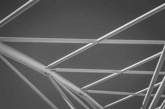 Low Angle View Architecture Built Structure Design Full Frame Repetition Modern Architectural Feature Sky Geometric Shape LINE Vibrant Color No People Architecture And Art Architectural Curve Bridge Denver Colorado  Denver,CO Black & White Bnw_collection Black And White Architecture_bw